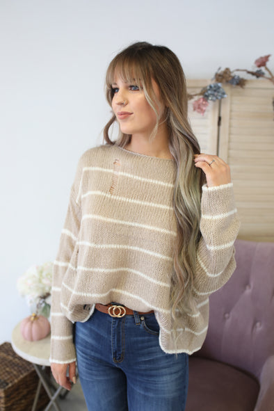 Truth  Be Told Sweater: Taupe