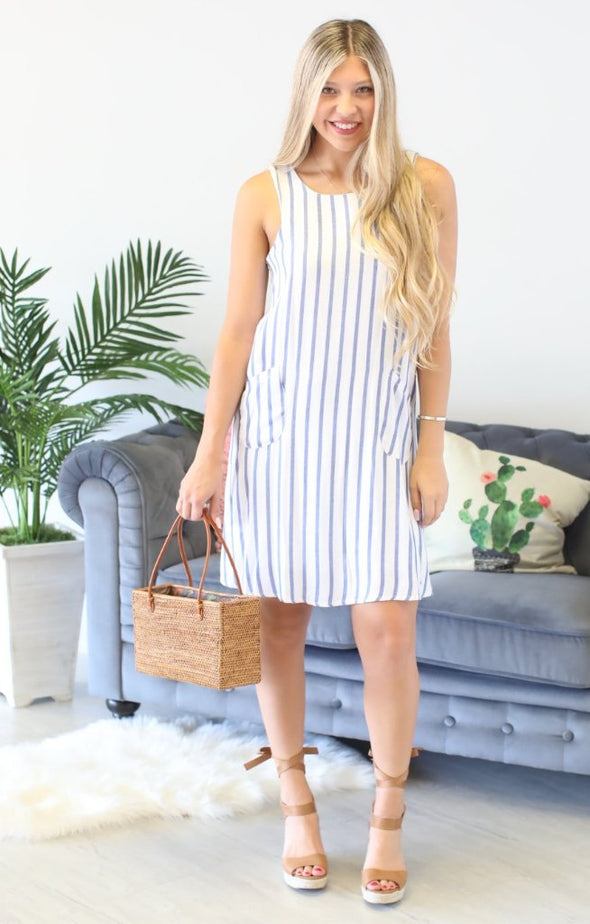 Padre Island Striped Dress: Navy - ShopSpoiled