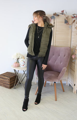 Fur Sure Vest: Olive - ShopSpoiled