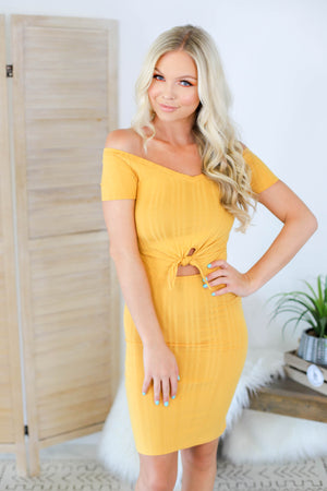 Be Right Back Dress: Mustard - ShopSpoiled