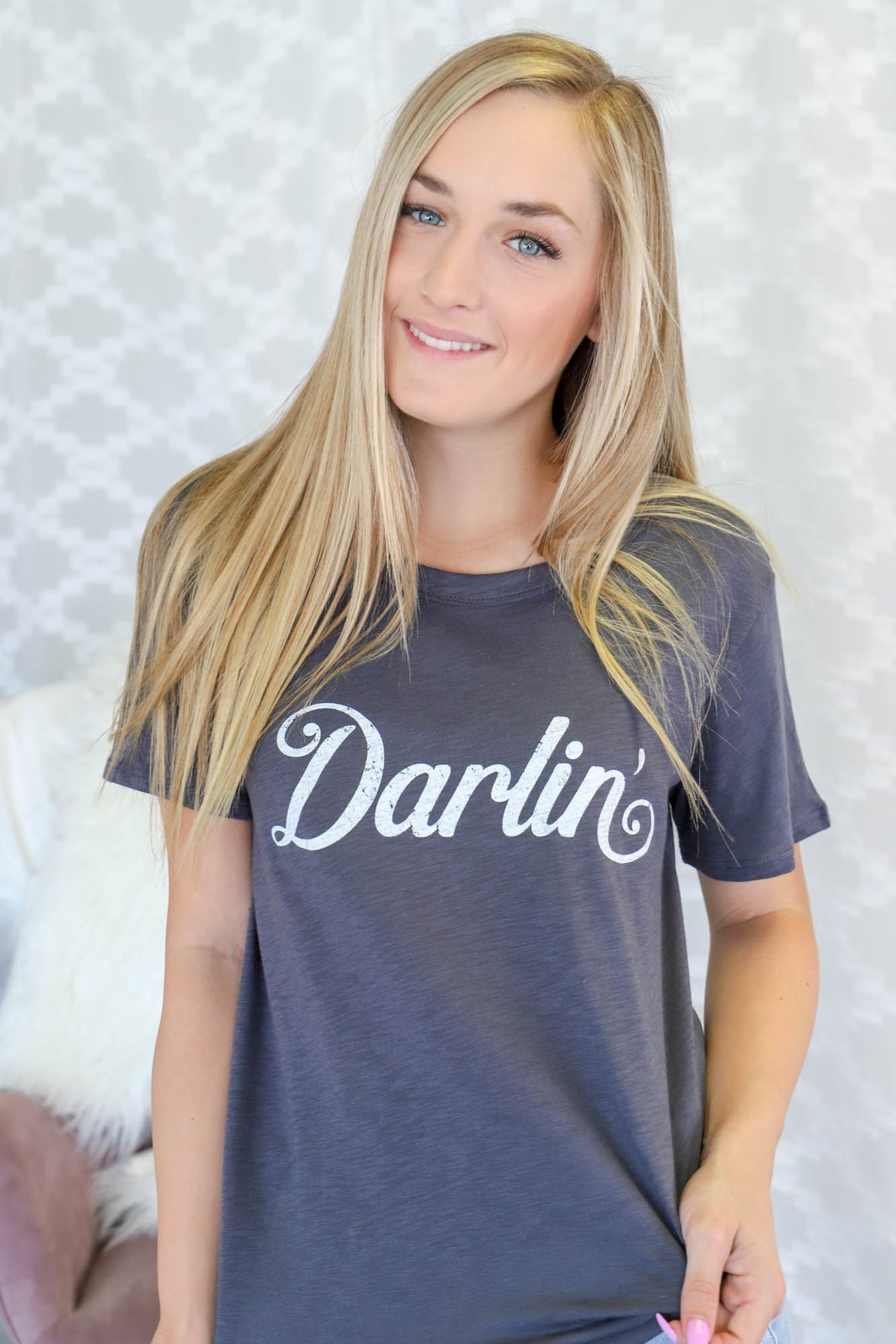 Darlin' Graphic Tee: Charcoal - ShopSpoiled