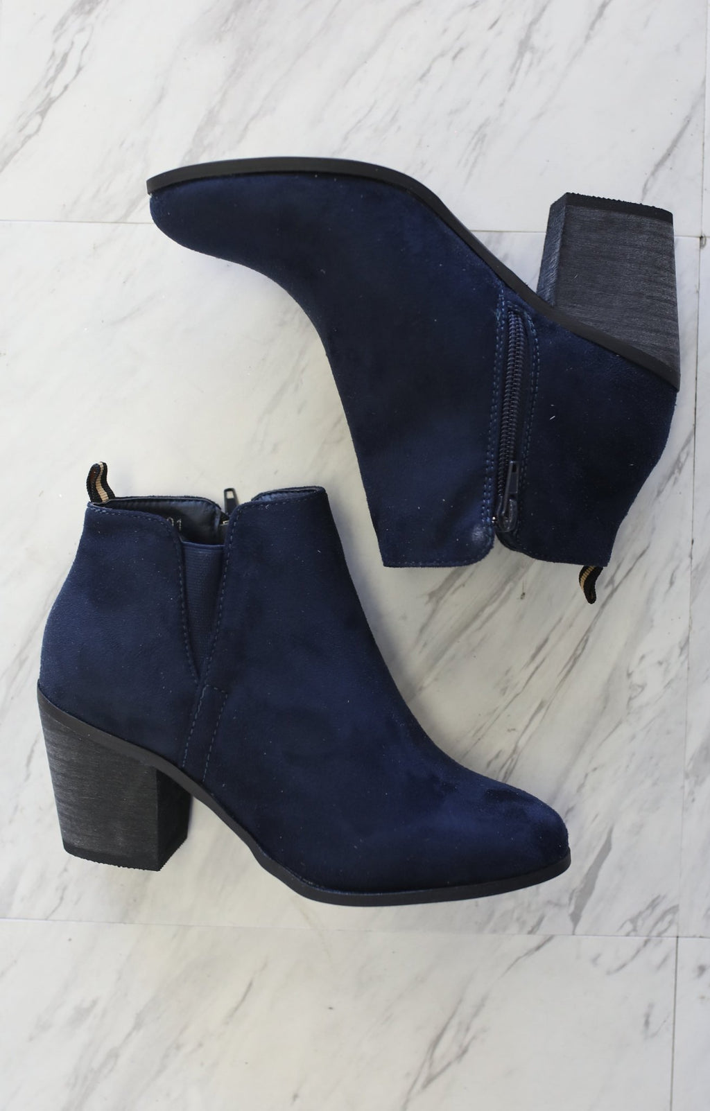 Nora Bootie: Navy - ShopSpoiled