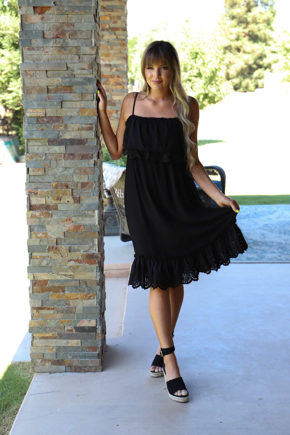 Totally In To You Eyelet Ruffle Dress - ShopSpoiled