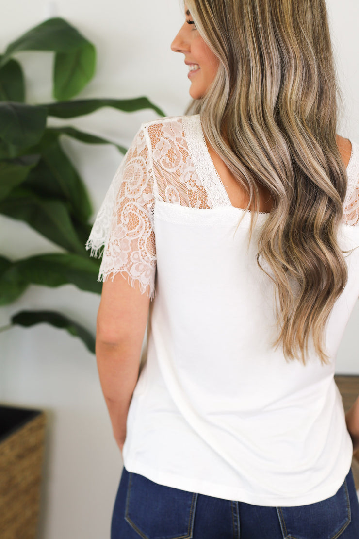 Sweet Lace Top: White - ShopSpoiled