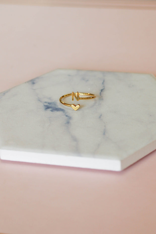 Heart Initial Ring: Gold - Shop Spoiled Boutique