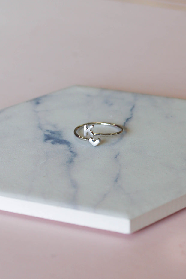 Heart Initial Ring: Silver - Shop Spoiled Boutique