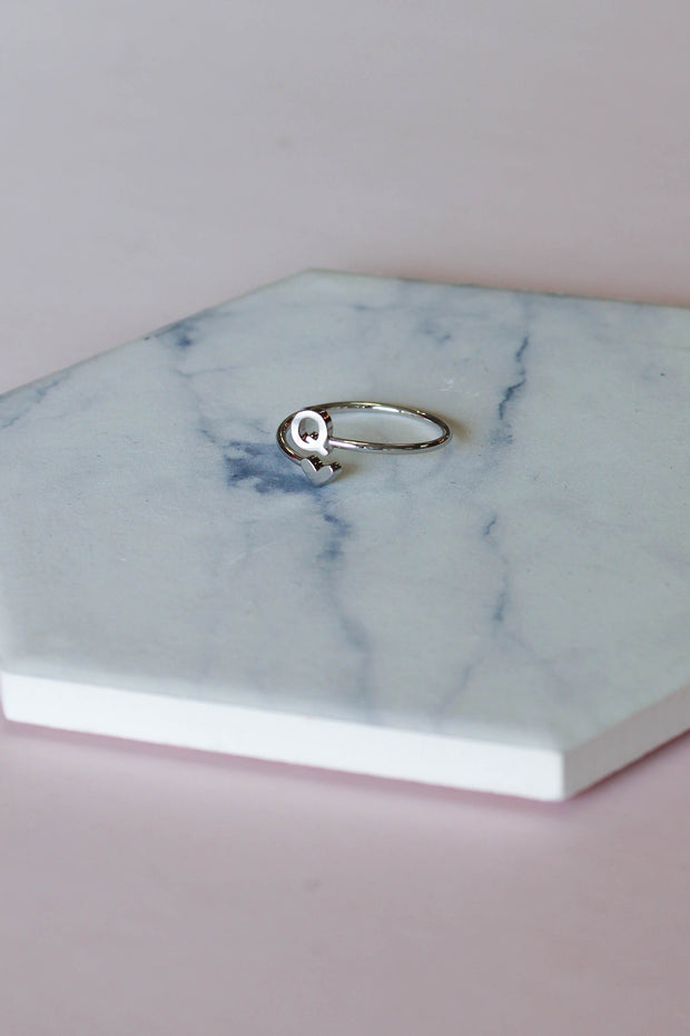 Heart Initial Ring: Silver - ShopSpoiled