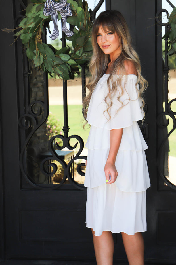 Goals For Sure Dress: Off White - ShopSpoiled