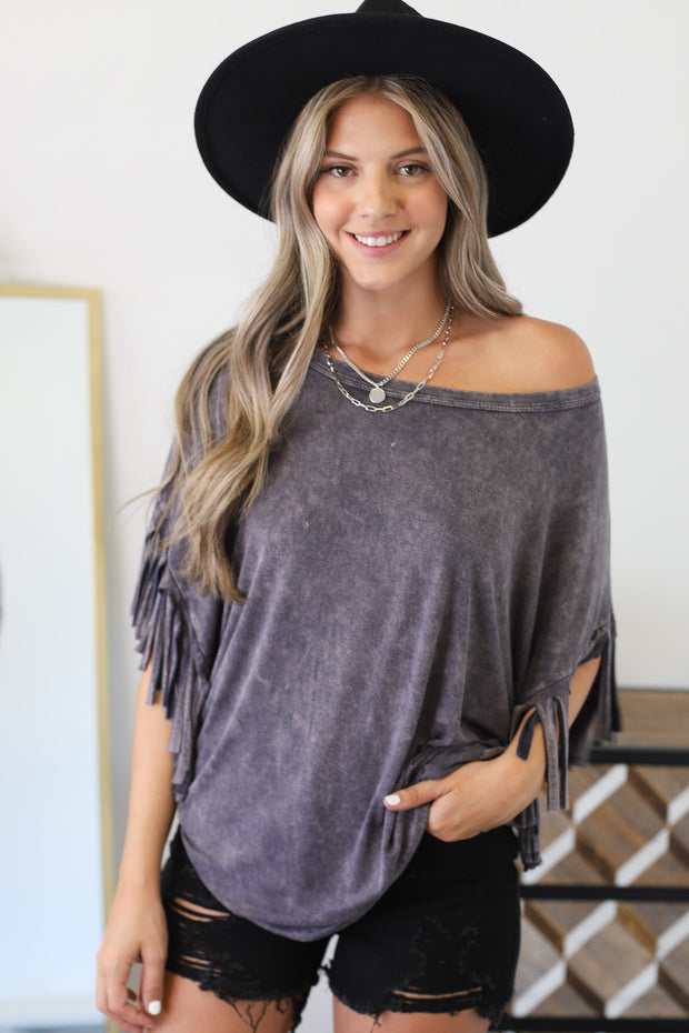 Fringe It Up Top: Grey - ShopSpoiled