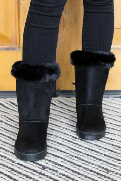 Baby It's Cold Boots: Black - ShopSpoiled