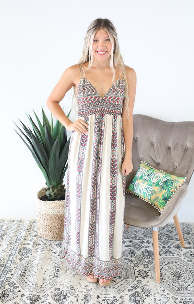 Full Blooms Maxi Dress: Cream - ShopSpoiled
