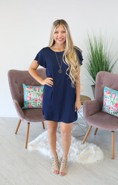 Cocoa Beach Dress: Navy - ShopSpoiled
