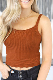 Love Connection Sweater Tank: Rust - ShopSpoiled
