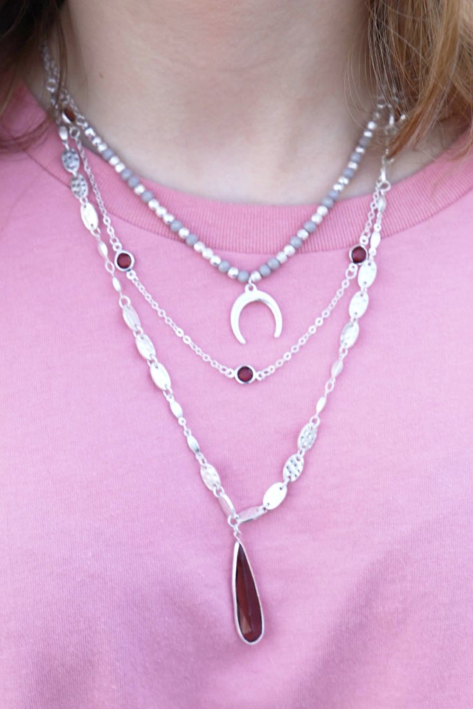 Crescent and Crystal Layer Necklace: Silver - ShopSpoiled
