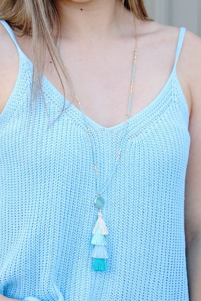 No Hassles Tassel Necklace: Teal/Blue - ShopSpoiled