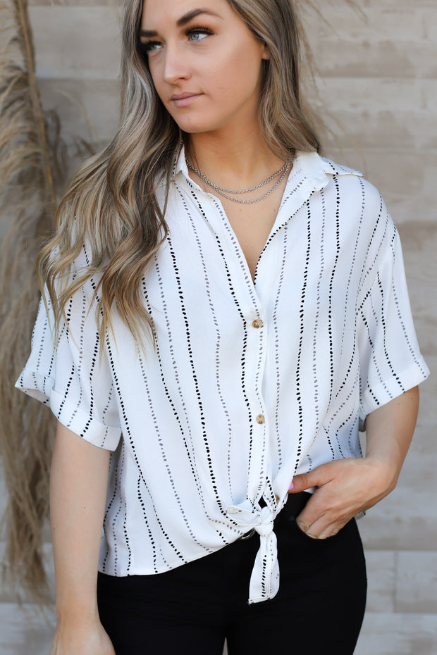 Fair And Square Stripe Top: Ivory/Black - ShopSpoiled