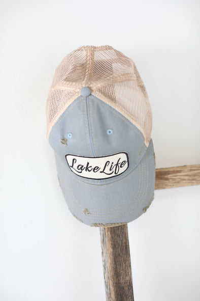 Lake Life Trucker Hat: Baby Blue - ShopSpoiled