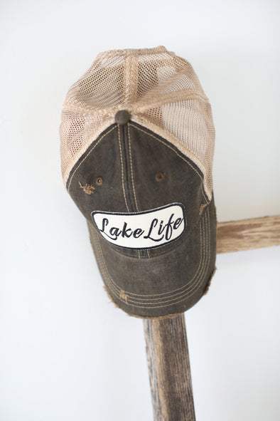 Lake Life Trucker Hat: Black Vintage - ShopSpoiled