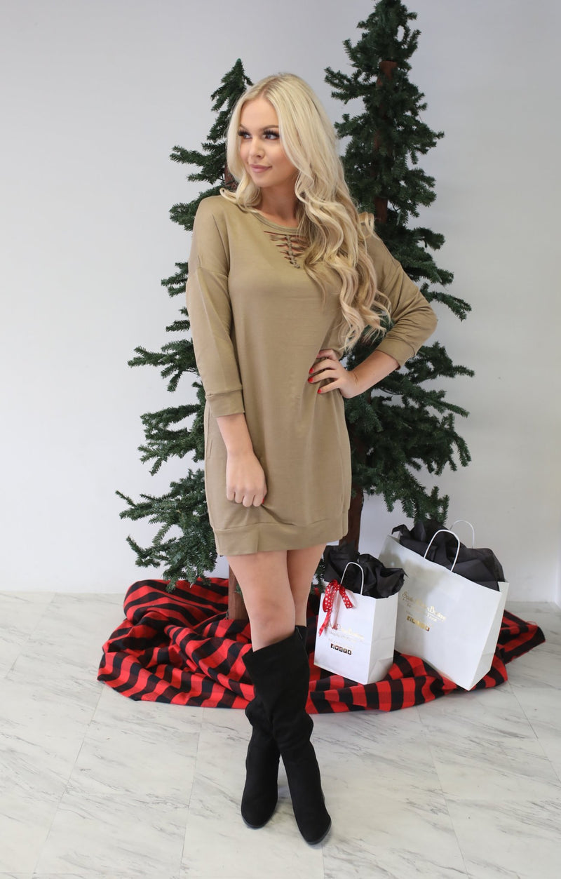 Leaf Me Be Dress: Army Khaki - ShopSpoiled