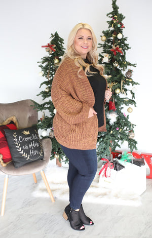Let It Snow Sweater: Camel - ShopSpoiled