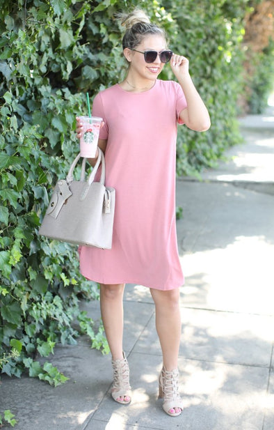 On The Rise Dress: Mauve - ShopSpoiled