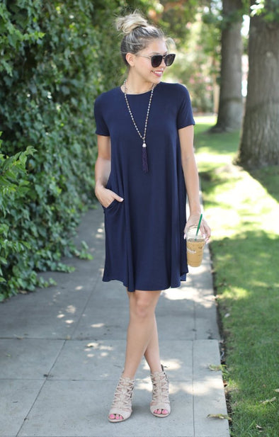 On The Rise Dress: Navy - ShopSpoiled