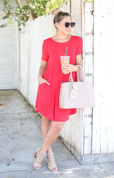 On The Rise Dress: Red - ShopSpoiled