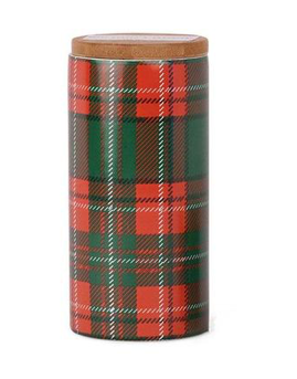 Tartan 9oz Ceramic Candle - Pomegranate & Spruce - ShopSpoiled