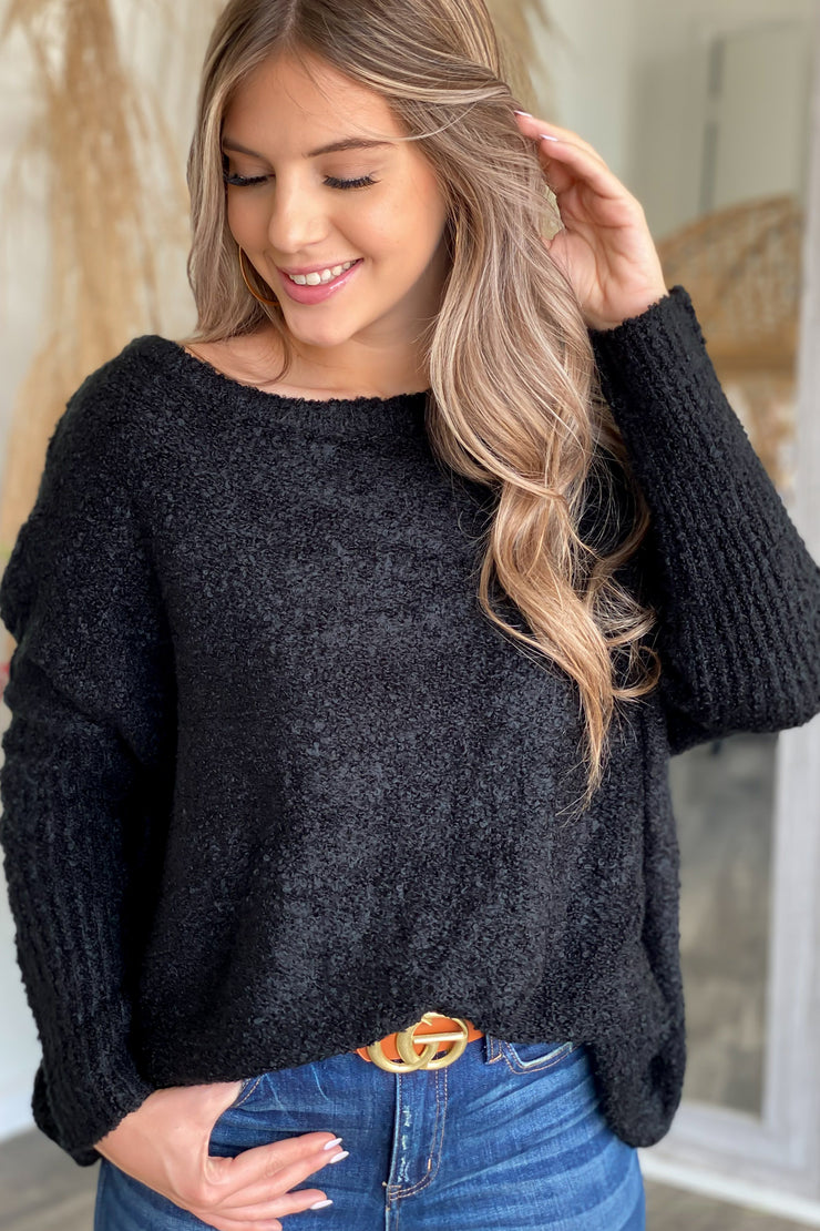Cozy Fireside Sweater: Black - ShopSpoiled