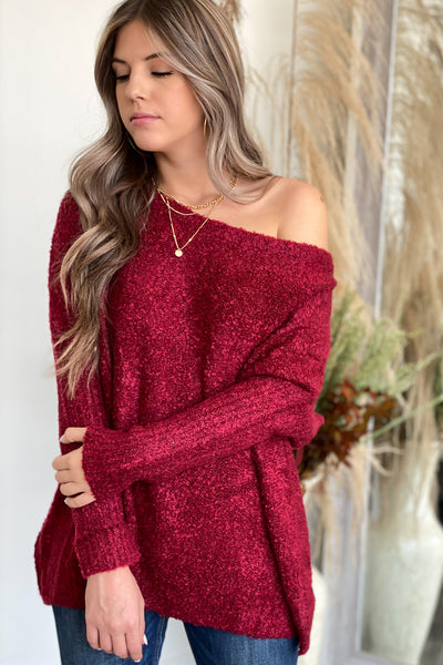 Cozy Fireside Sweater - Wine - ShopSpoiled