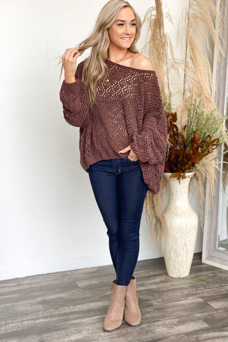 The Snuggle is Real Sweater: Brown - ShopSpoiled