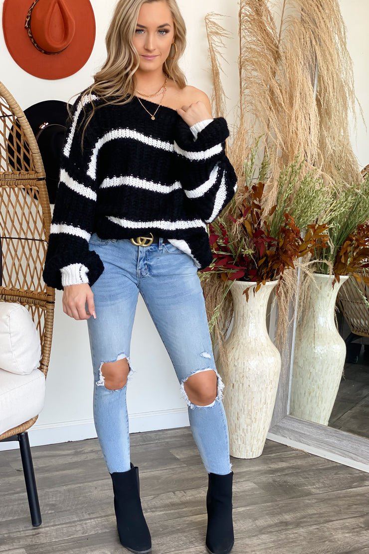 Kayla Sweater: Blk/Wht - ShopSpoiled