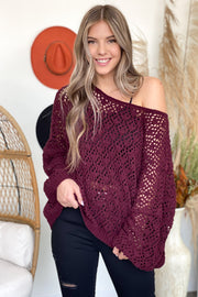 The Snuggle is Real Sweater: Plum - ShopSpoiled