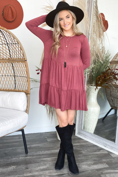 All in the Details Dress: Burgundy - ShopSpoiled