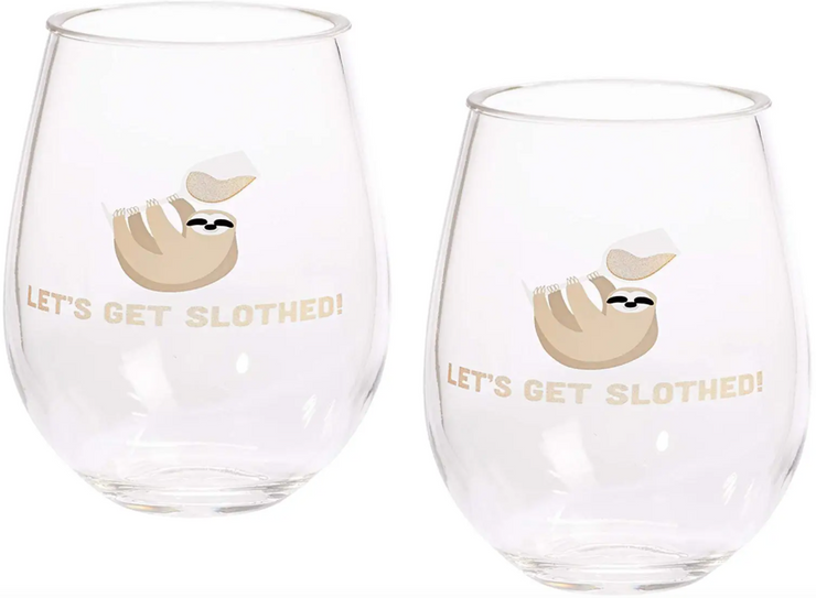 Sloth Double Stemless Wine Glasses - ShopSpoiled