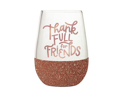 Thankful For Friends 20oz Stemless Wine Glass - ShopSpoiled