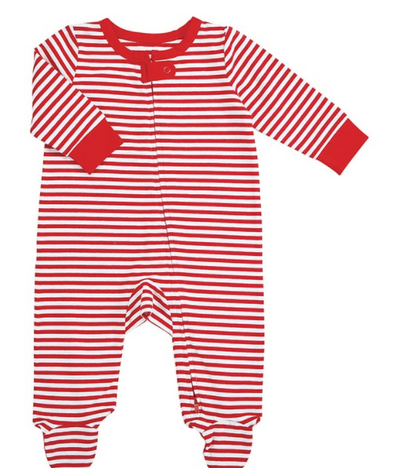 Red and White Striped Footed Pjs - ShopSpoiled