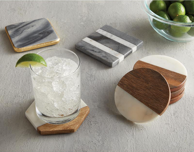 Wood/Marble Coaster Set - ShopSpoiled