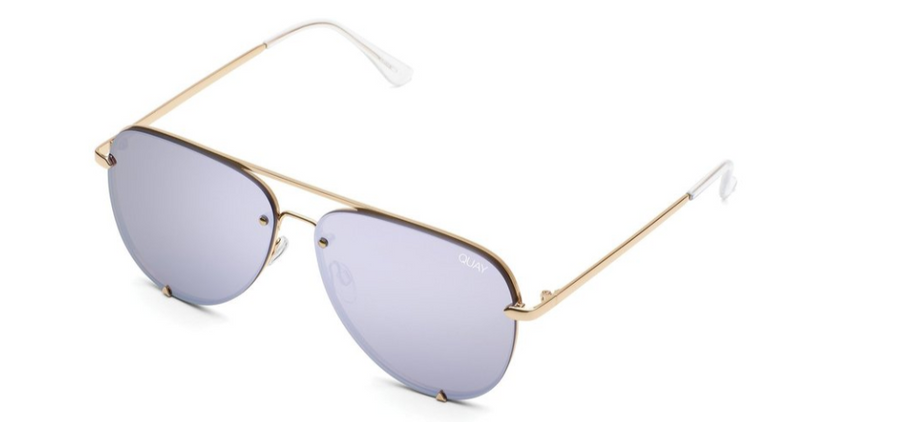 QUAY HIGH KEY RIMLESS : GLD/LIL - ShopSpoiled