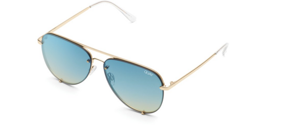 QUAY HIGH KEY RIMLESS : GOLD/BLUETURQ - ShopSpoiled