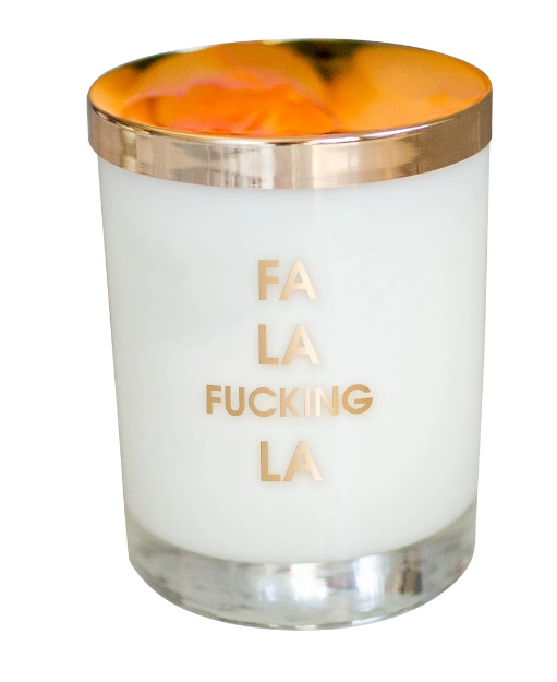 Fa La Fucking La Gold Foil Candle - ShopSpoiled