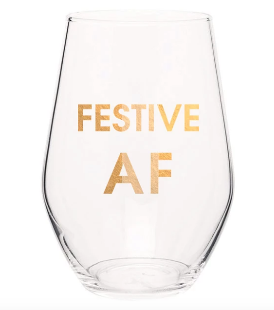 Festive AF Gold Foil Wine Glasses - ShopSpoiled