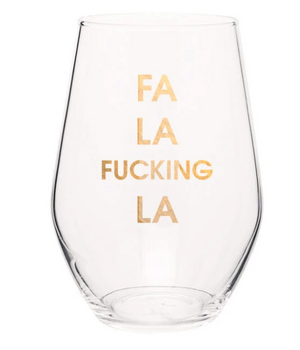 Fa La Fucking La Gold Foil Wine Glasses - ShopSpoiled