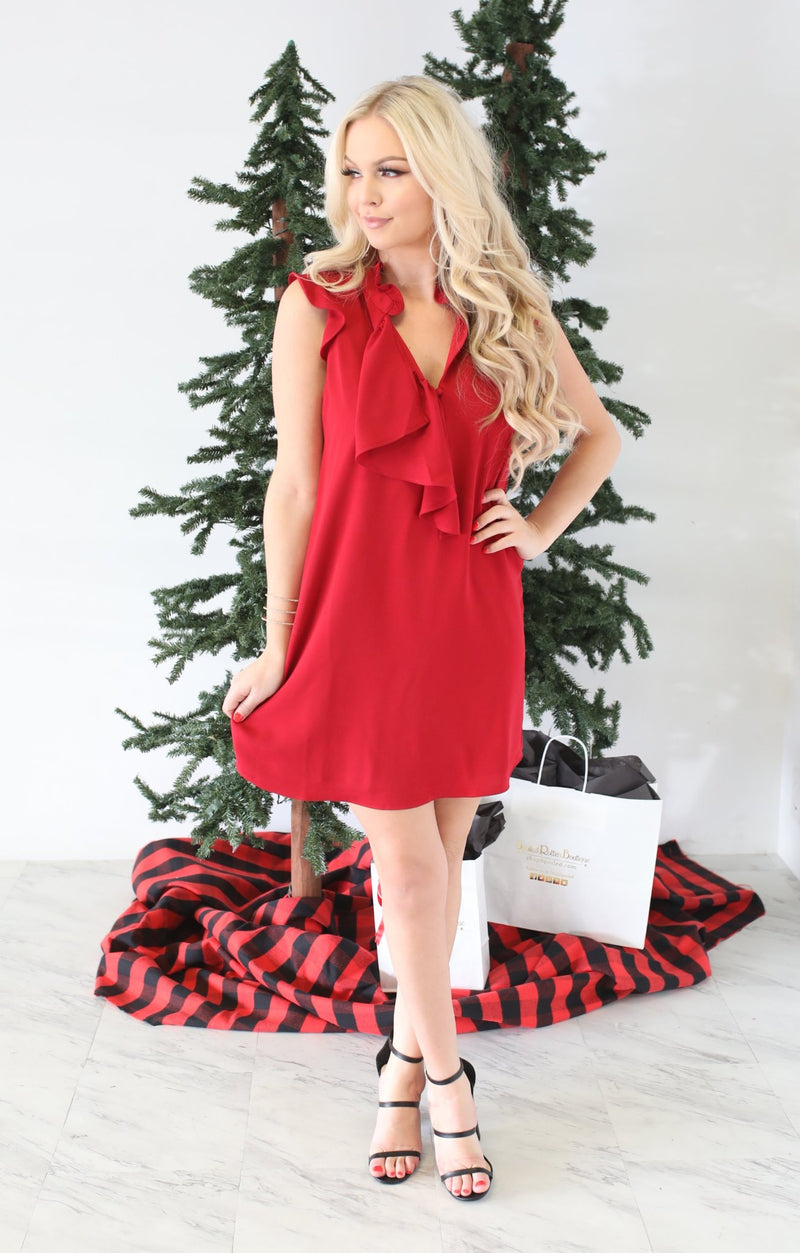 Tinsel Dress: Crimson - ShopSpoiled