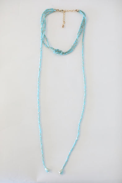 Turquoise Layered Beaded Necklace - ShopSpoiled