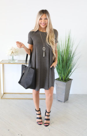 On The Rise Dress: Charcoal - ShopSpoiled