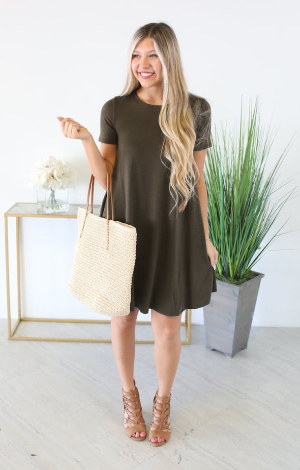 On The Rise Dress: Dk Olive - ShopSpoiled
