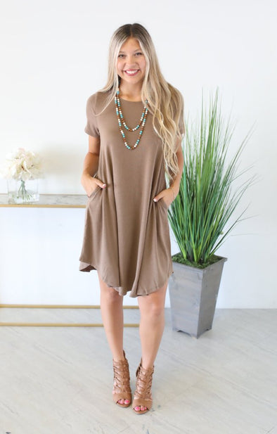 On The Rise Dress: Mocha - ShopSpoiled