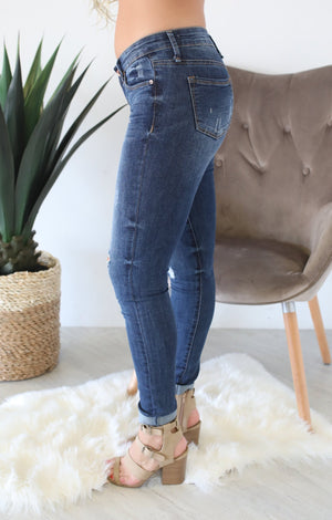 Denim Roll up Skinny Jeans - ShopSpoiled