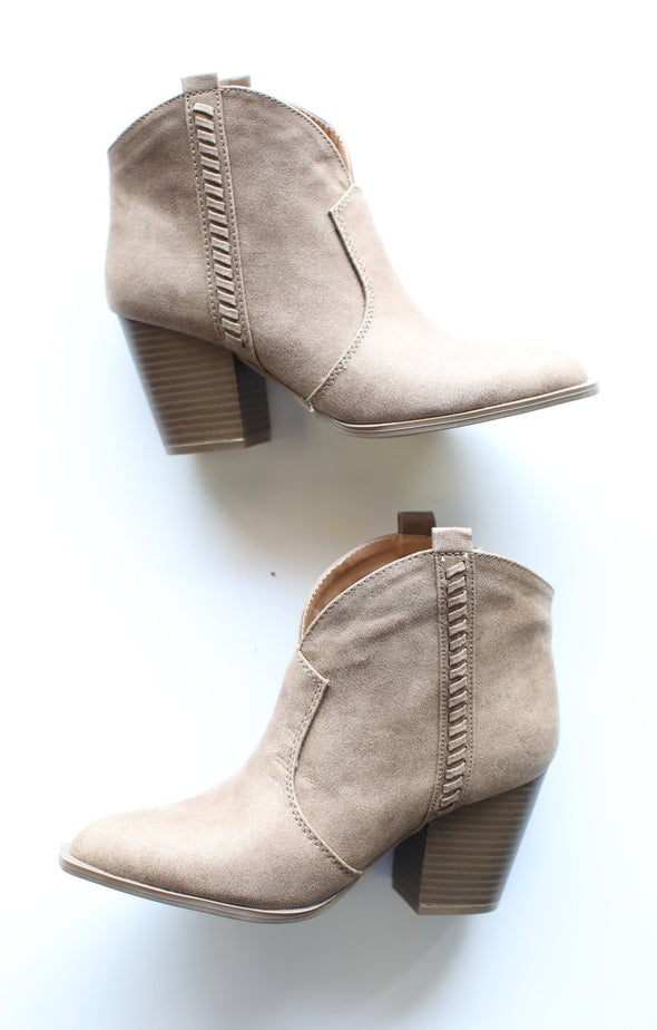 Prenton Booties: Taupe - ShopSpoiled